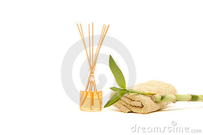 Spa towel, fragrance sticks and bamboo