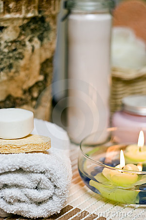 Spa towel and soap