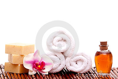 Spa towel, soap, orchid