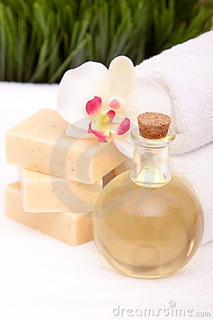 Spa towels, soap and oils