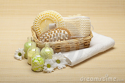 Spa treatment - bath salt and massage tools