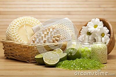 Spa treatment - bath salt and massage tools