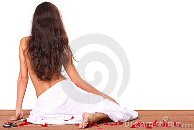 Spa treatment - beautiful woman with towel