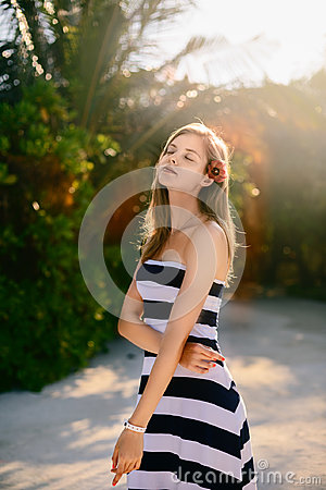 Free Spa Wellness Beach Beauty Woman Relaxing And Sun Bathing On Beach. Beautiful Serene And Peaceful Young Female Model On Stock Photography - 97391922