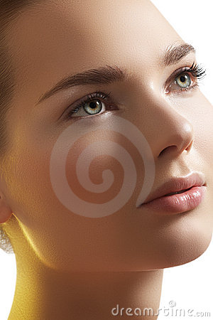 Spa, wellness. Beautiful model face with pure skin