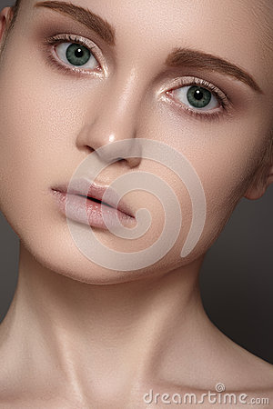 Spa wellness & health care. Model with clean skin