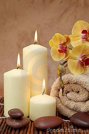 Spa with white candles