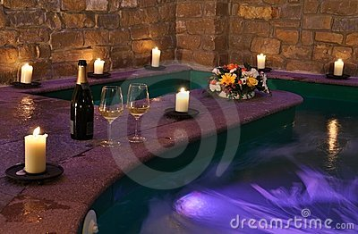 Spa with wine and candles