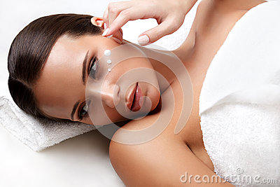 Spa Woman. Close-up of a Young Woman Getting Spa Treatment. Cosm