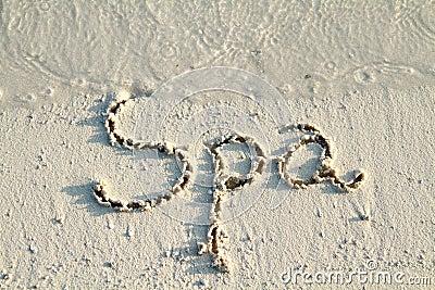 Spa  written in sand.