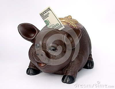 Spaarvarken met de V.S. honderd dollars in groef