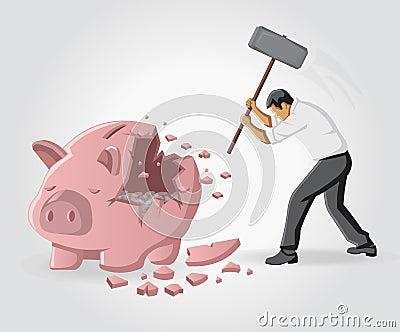 Spaarvarken met muntstukken
