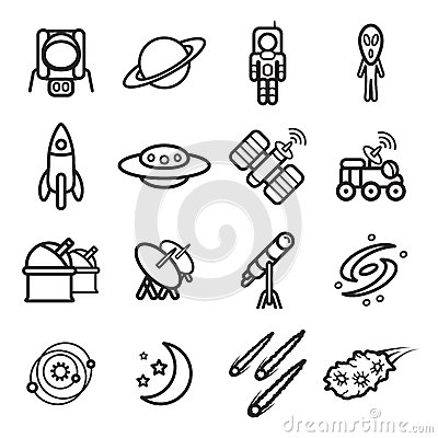 Free Space And Astronomy Icons Set. Vector Eps 10. Royalty Free Stock Image - 64870206