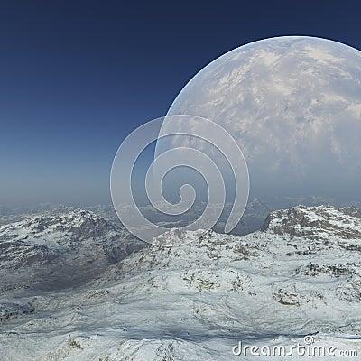 Free Space Art: Foggy Alien Planet Frozen World Stock Images - 102595034