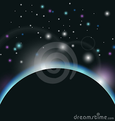 Space background with earth and sunrise