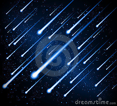 Space background meteor shower