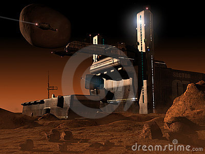 Space base on planet  Mars