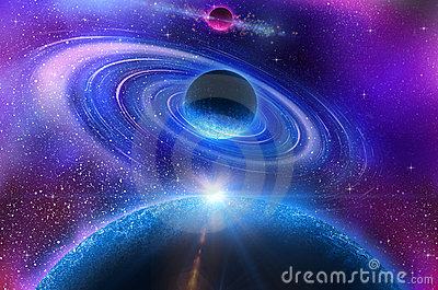 Space flare. A beautiful space scene