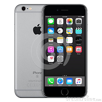 Free Space Gray Apple IPhone 6s Front View With IOS 9 On The Screen Stock Image - 65405301