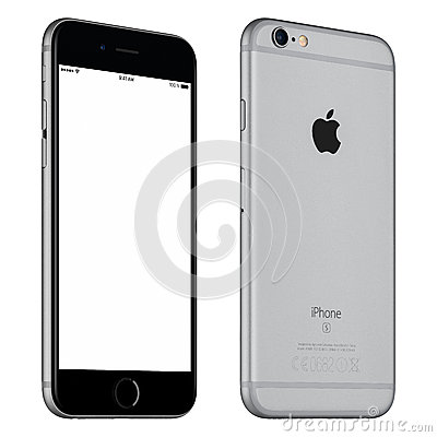 Free Space Gray Apple IPhone 6S Mockup Slightly Rotated Front View Royalty Free Stock Images - 67262929
