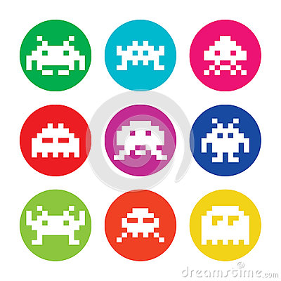 Space invaders, 8bit aliens round icons set