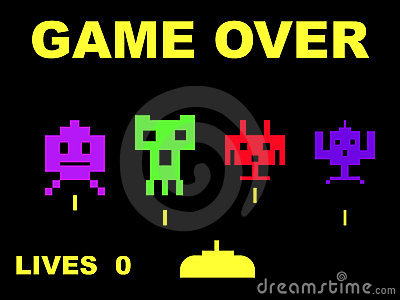 Space invaders game over Editorial Photography