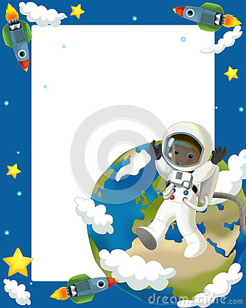 The space journey - happy and funny mood - illustration for the children