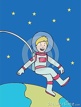 Space Kid Floating
