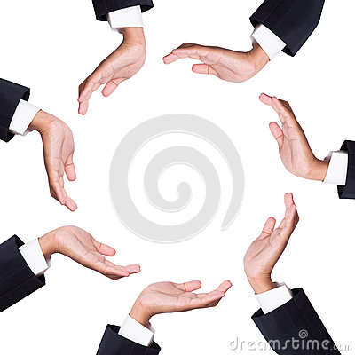 Space between many hands of businessman