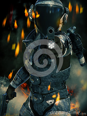 Free Space Marine In Action Aiming His Weapon At The Camera With Sparks, Smoke And Fire In The Background. Stock Images - 82839724
