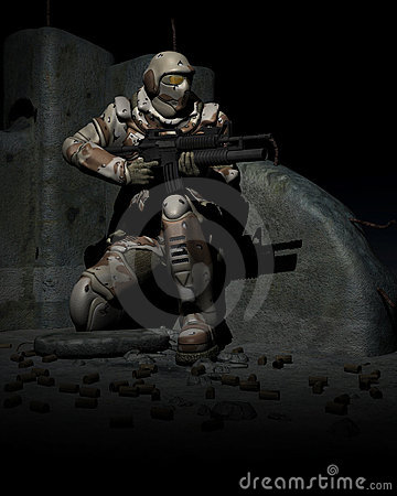 Free Space Marine Soldier. Warhammer Stock Photo - 7889940
