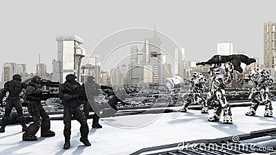 Space Marines and Combat Droids Battle in a Futuri