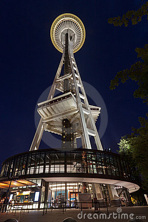 Space Needle Seattle at Night Editorial Photo