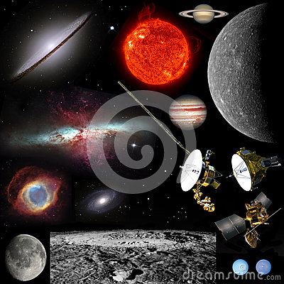 Space objects - Isolated on black for cutout Editorial Image