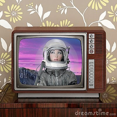 Space odyssey mars astronaut on retro 60s tv