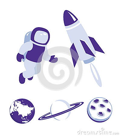 Space and planet icons blue set