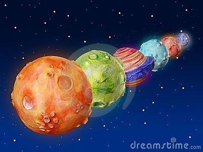 Space planets fantasy handmade universe