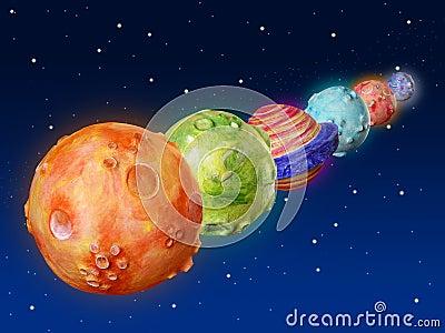Space planets fantasy handmade universe