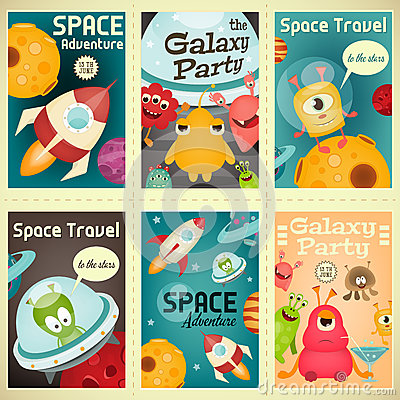 Free Space Posters Set Stock Photography - 91351692