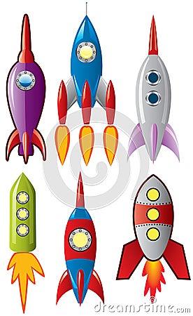 Space retro rocket ships