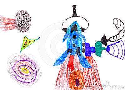 Space rocket. children s drawing.