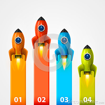 Space rocket launch info Vector Illustration