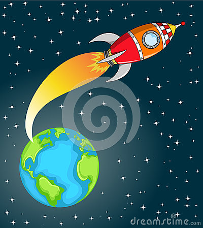 Illustration featuring a cartoon space rocket flying in space out of ...