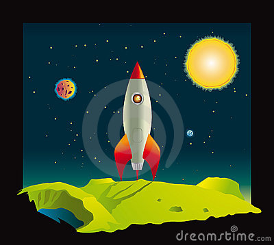Space rocket visiting a planet