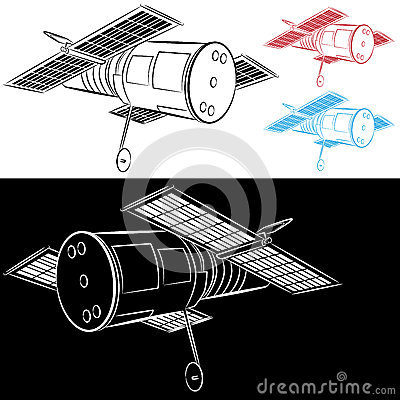Space Satellite Drawing