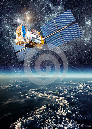 Free Space Satellite Over The Planet Earth Stock Image - 49584791