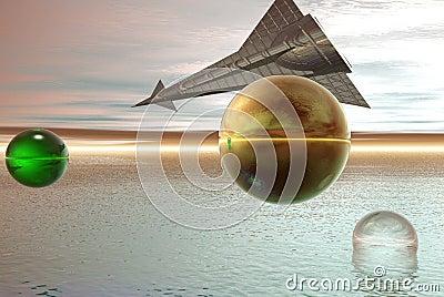 Space ship on alien sky