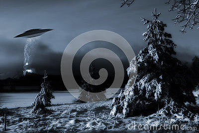 Space-ship landing in cold winter landscape