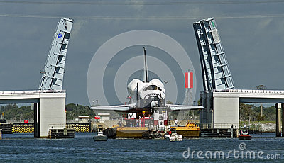 Space shuttle on barge Editorial Stock Photo