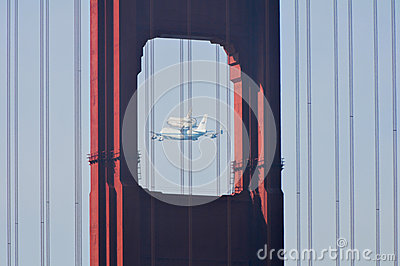 Space Shuttle Endeavour and Golden Gate Bridge Editorial Photography